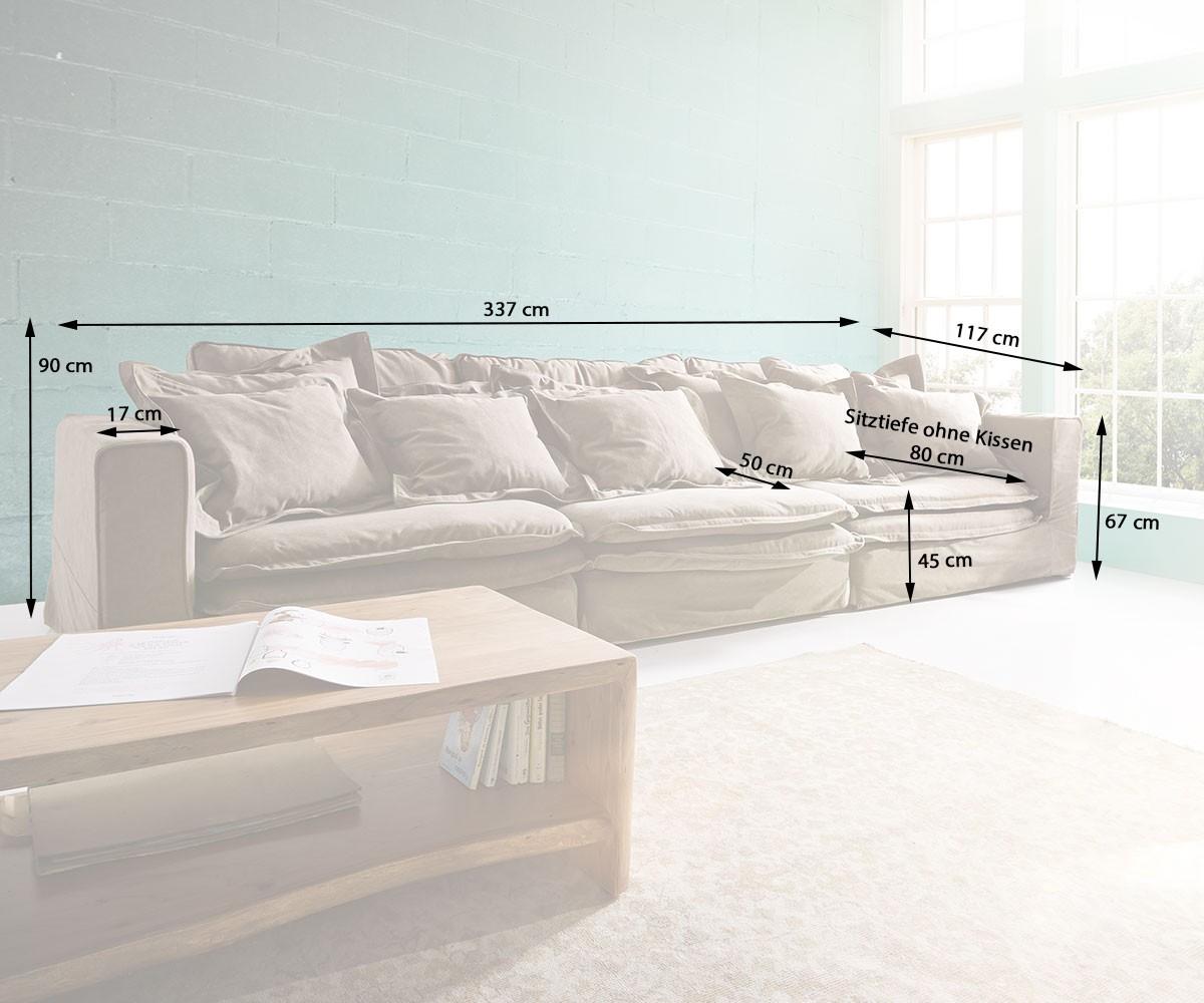 hussensofa sharona 337x117 cm braun mit kissen m bel sofas big sofas. Black Bedroom Furniture Sets. Home Design Ideas