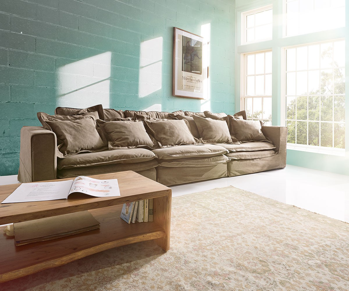 hussensofa sharona 337x117 cm braun mit kissen m bel sofas big sofas. Black Bedroom Furniture Sets. Home Design Ideas