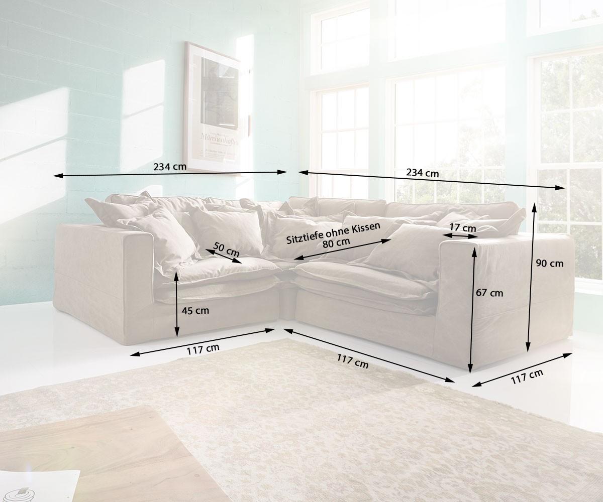 hussensofa sharona 234x234 cm braun mit kissen ecksofa m bel sofas ecksofas. Black Bedroom Furniture Sets. Home Design Ideas