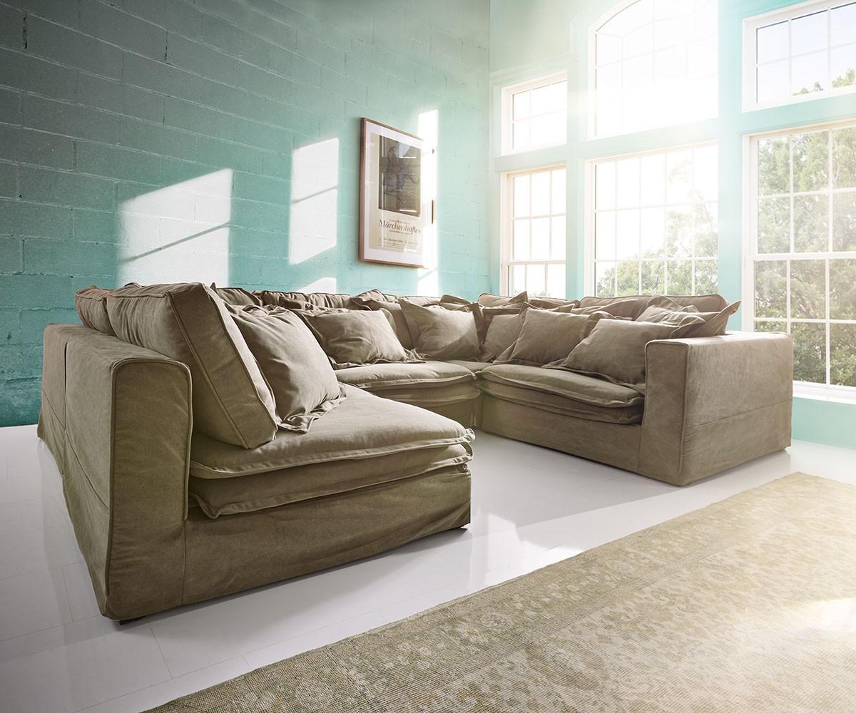 hussensofa sharona 337x234 cm braun mit kissen m bel sofas wohnlandschaften. Black Bedroom Furniture Sets. Home Design Ideas