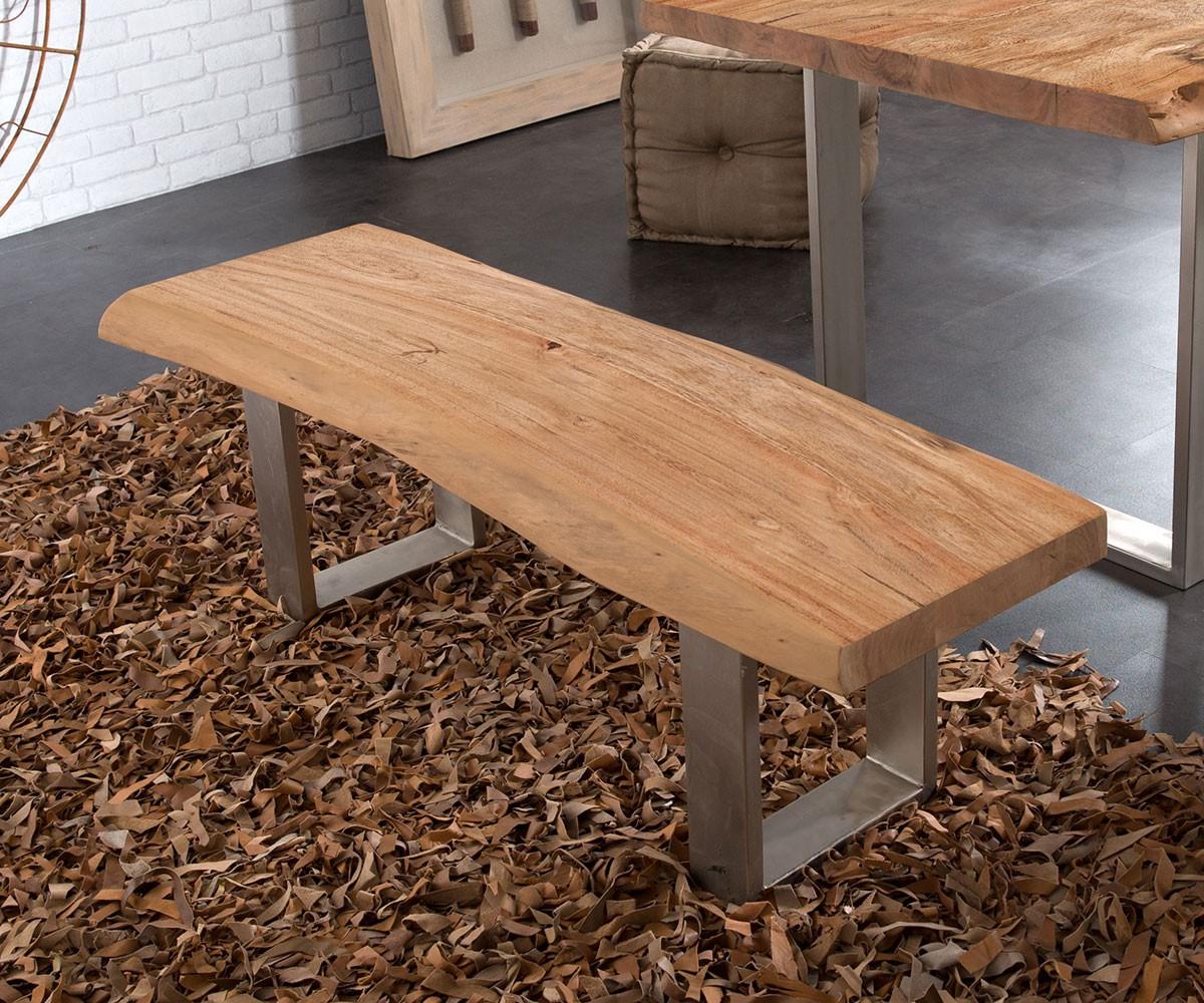 massivholzbank live edge akazie natur 135x40 gestell. Black Bedroom Furniture Sets. Home Design Ideas