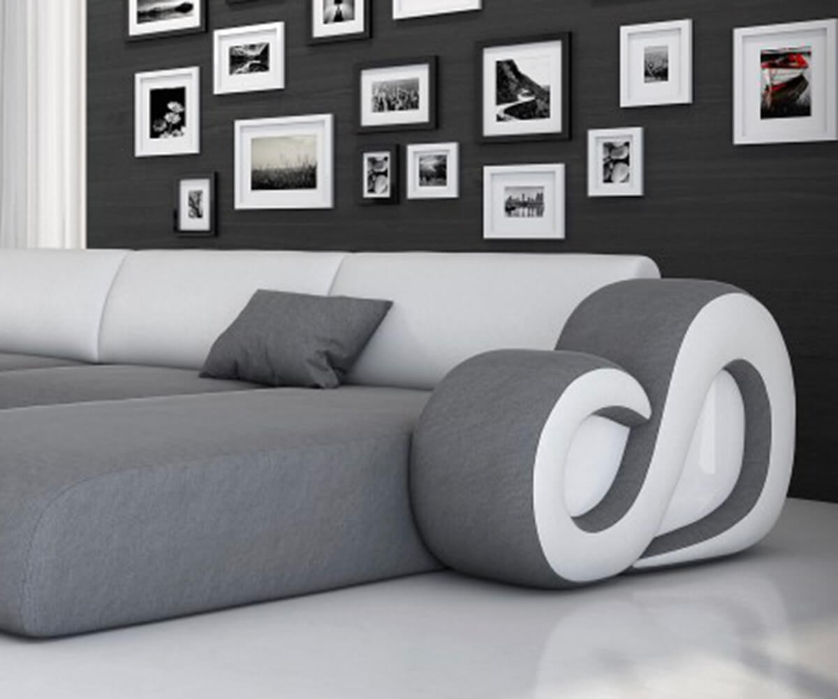 wohnlandschaft constanza 485x242 cm weiss grau mit led. Black Bedroom Furniture Sets. Home Design Ideas