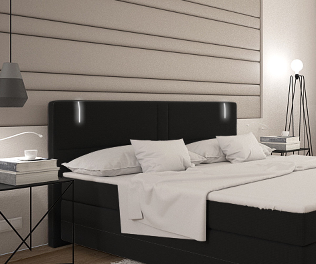 bett lunetta schwarz 180x200 cm kingsize matratze boxspringbett. Black Bedroom Furniture Sets. Home Design Ideas