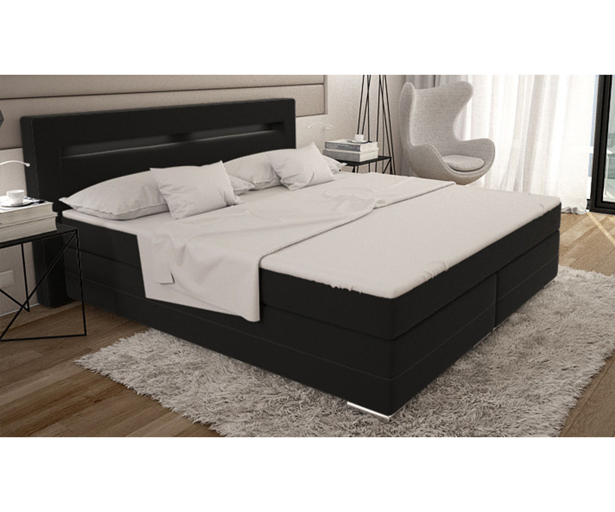 boxspringbett livana 180x200 schwarz kingsize matratze. Black Bedroom Furniture Sets. Home Design Ideas