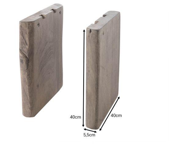 Bankstel van massief hout acacia natuur (set van 2) 2