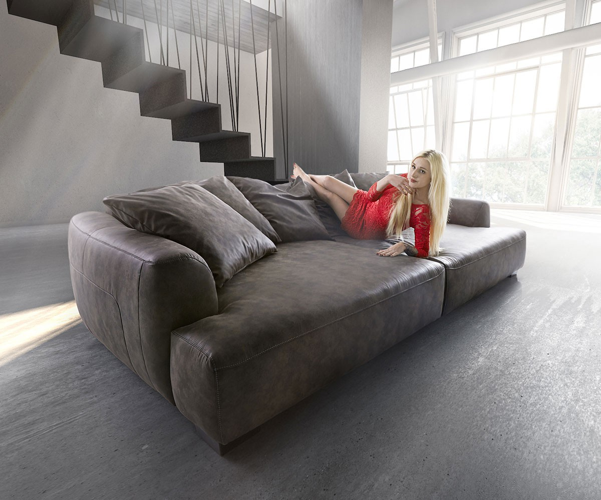 Big-Sofa Kingsize 280x140 Anthrazit inkl. 6 Kissen by Ultsch