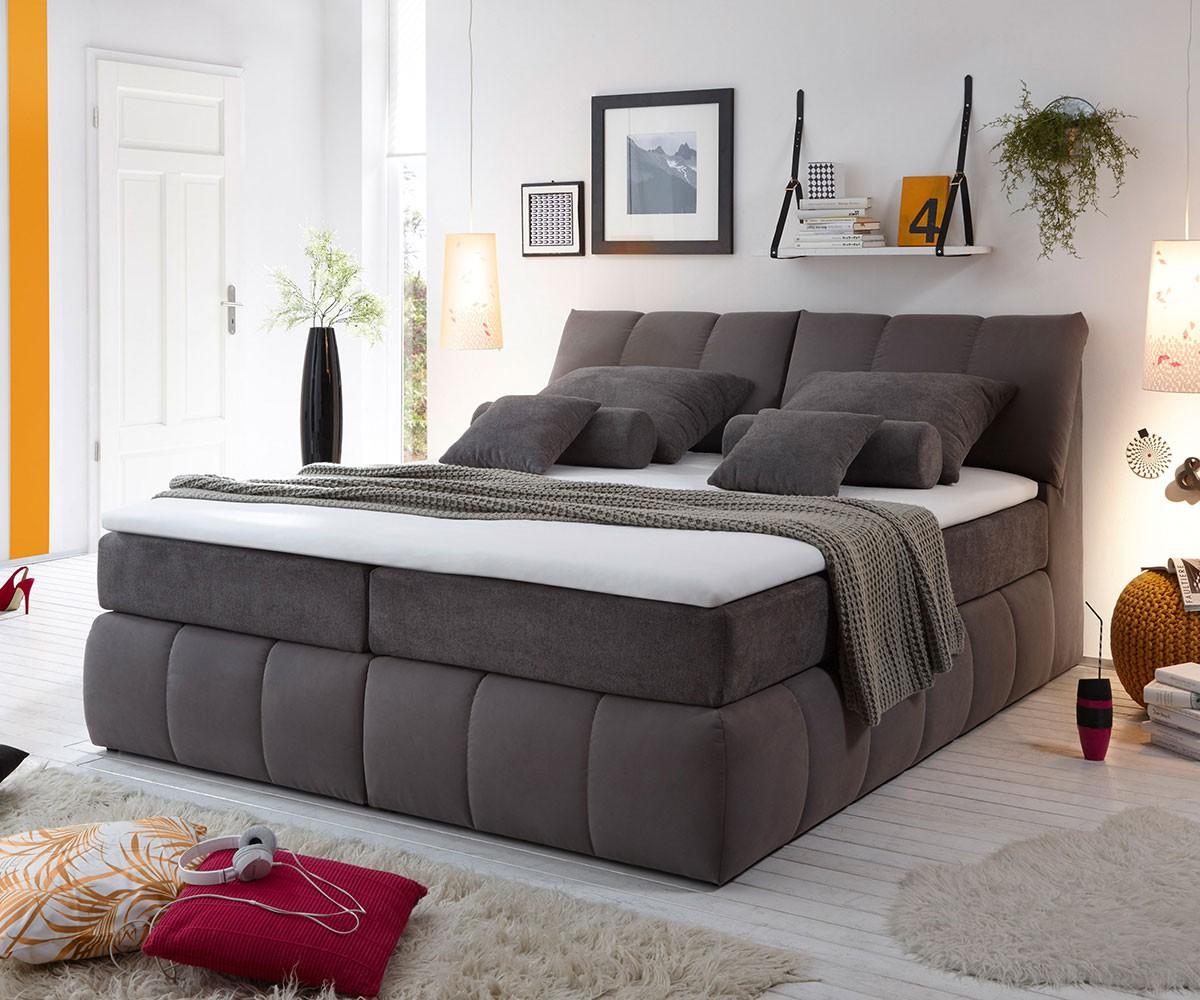 boxspringbett brasilia 180x200 grau matratze und topper m bel betten boxspringbetten. Black Bedroom Furniture Sets. Home Design Ideas