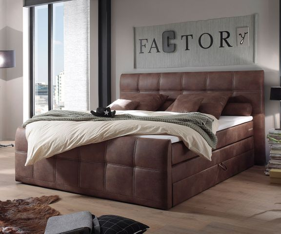 Boxspring-bed Amarillo 180x200 cm bruin met topper 1