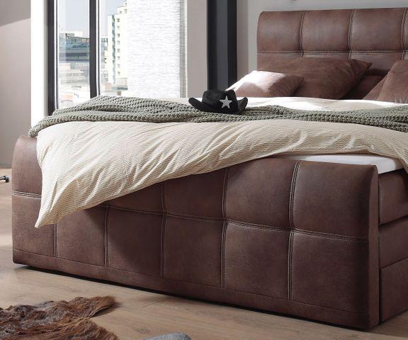 Boxspring-bed Amarillo 180x200 cm bruin met topper 2