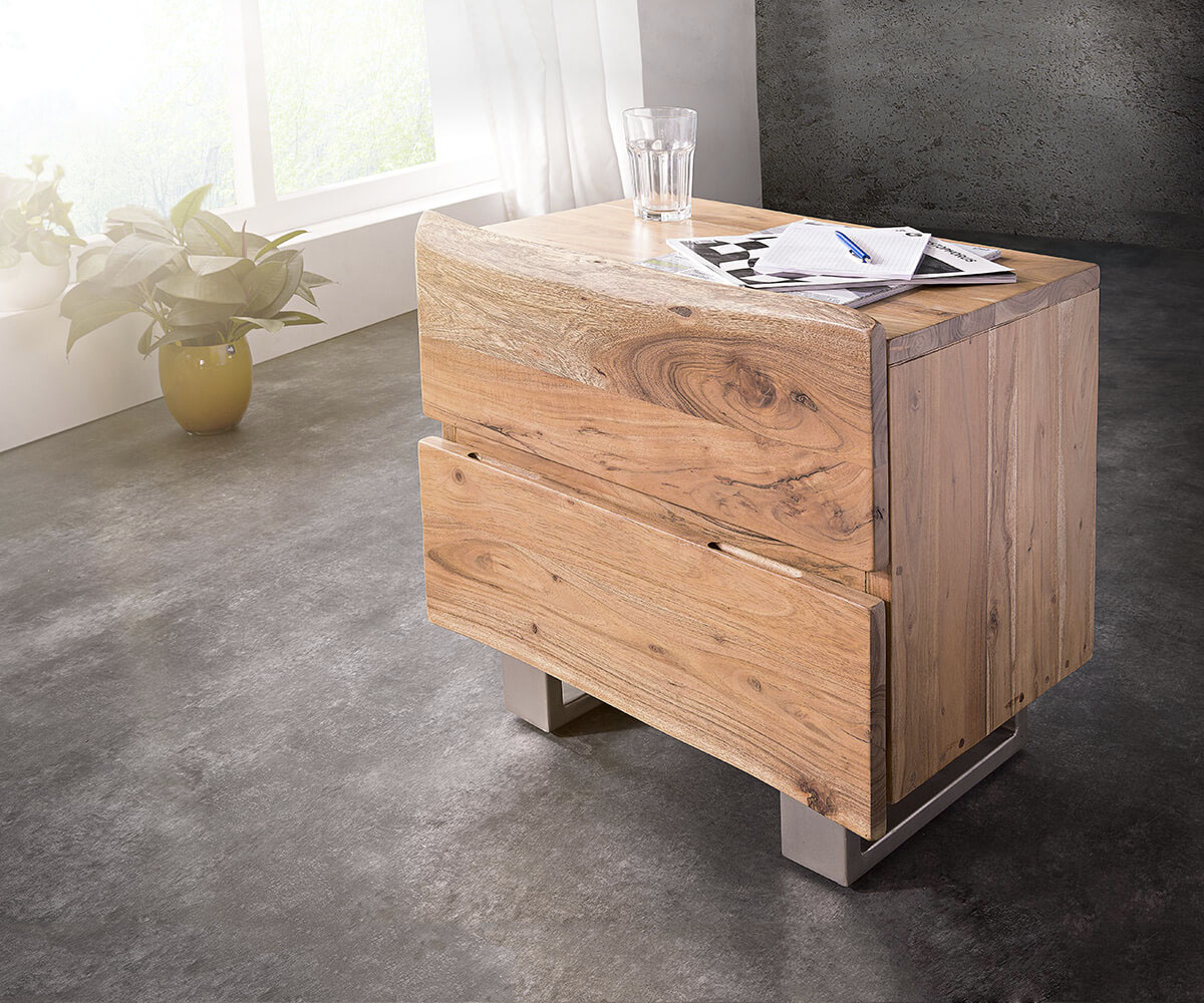 nachttisch live edge 59x42 akazie natur 2 sch be massiv. Black Bedroom Furniture Sets. Home Design Ideas