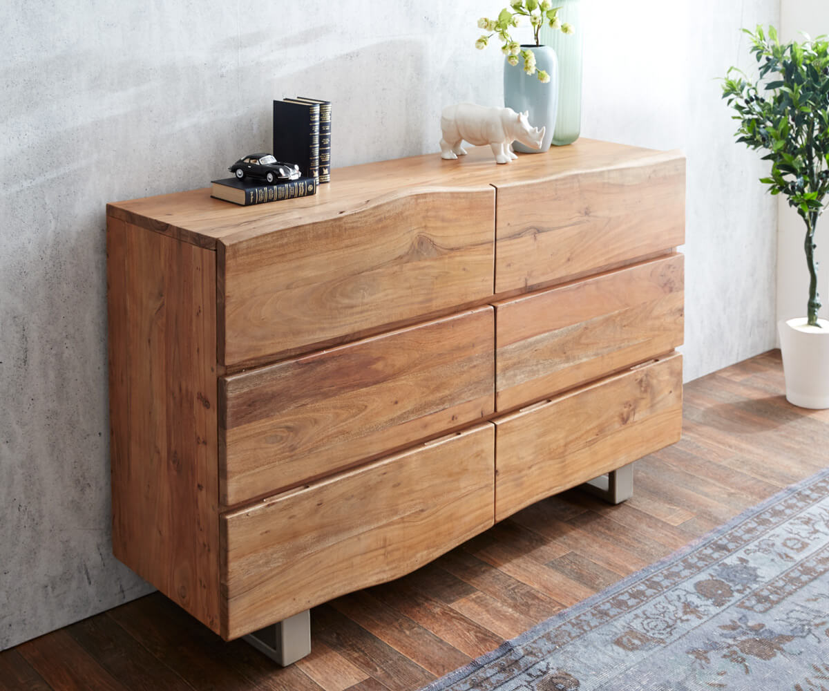 sideboard live edge 148 cm akazie natur 6 sch be massivholz m bel kommoden schr nke sideboards. Black Bedroom Furniture Sets. Home Design Ideas