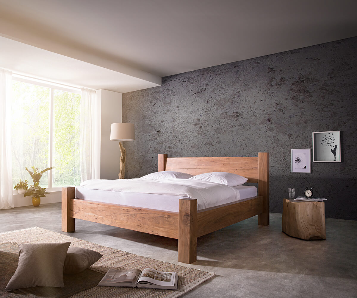 massivholzbett blokk 180x200 cm akazie natur lattenrost m bel betten holzbetten. Black Bedroom Furniture Sets. Home Design Ideas
