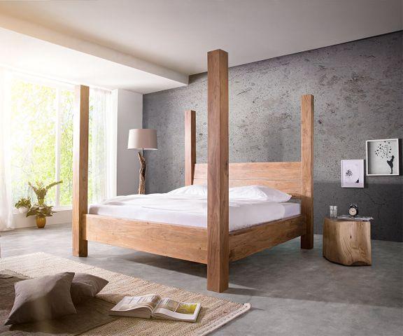 Bed Blokk massief hout 180x200 acacia natuur hemelbed lattenbodem 2