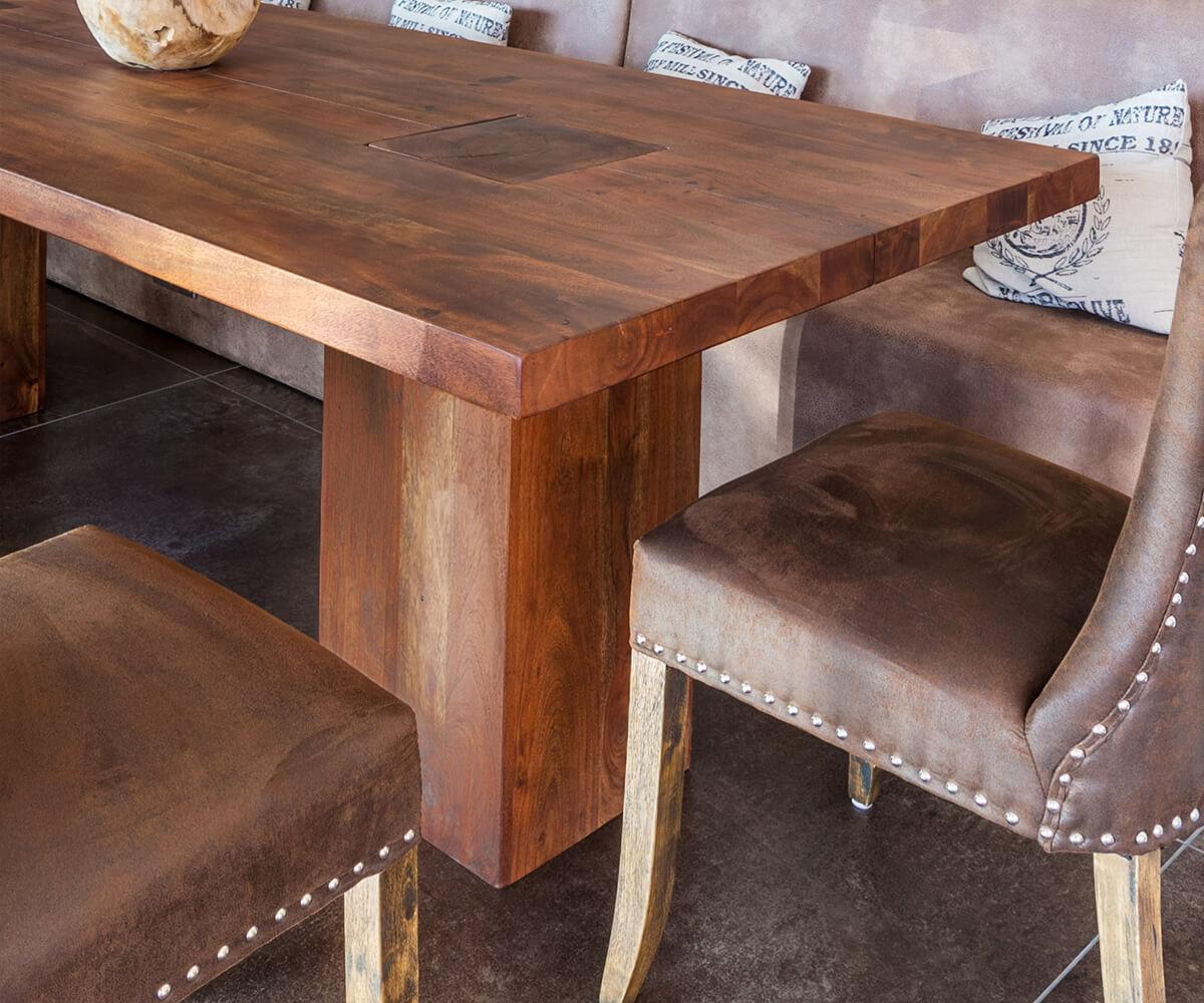 esstisch blokk 260x100 akazie braun beine durchstossen m bel tische esstische. Black Bedroom Furniture Sets. Home Design Ideas