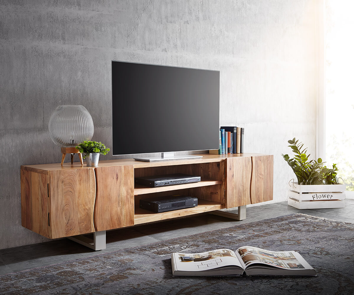 lowboard live edge 200 cm akazie natur 4 t ren 2 f cher m bel tische fernsehtische. Black Bedroom Furniture Sets. Home Design Ideas