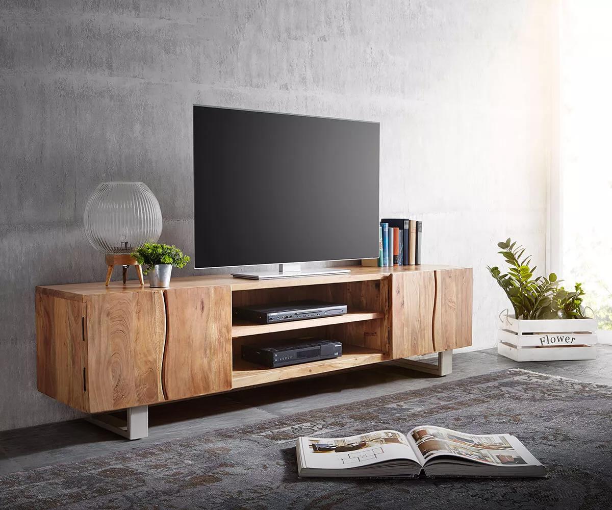 TV-meubel Live-Edge 200 cm acacia natuur 4 deuren 2 vakken