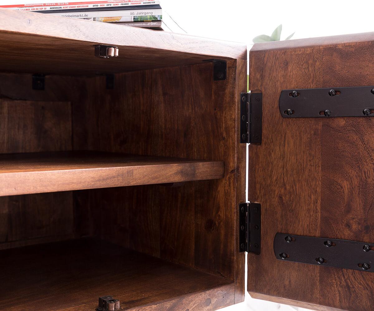 fernsehtisch live edge akazie braun 200 cm 2 sch be 2 f cher lowboard by delife ebay. Black Bedroom Furniture Sets. Home Design Ideas