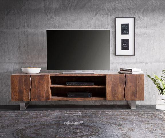 TV-meubel Live-Edge 200 cm acacia bruin 4 deuren 2 compartimenten 3