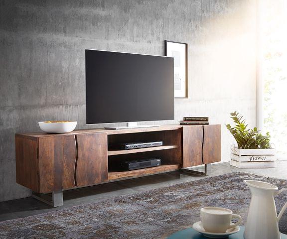 TV-meubel Live-Edge 200 cm acacia bruin 4 deuren 2 compartimenten 1