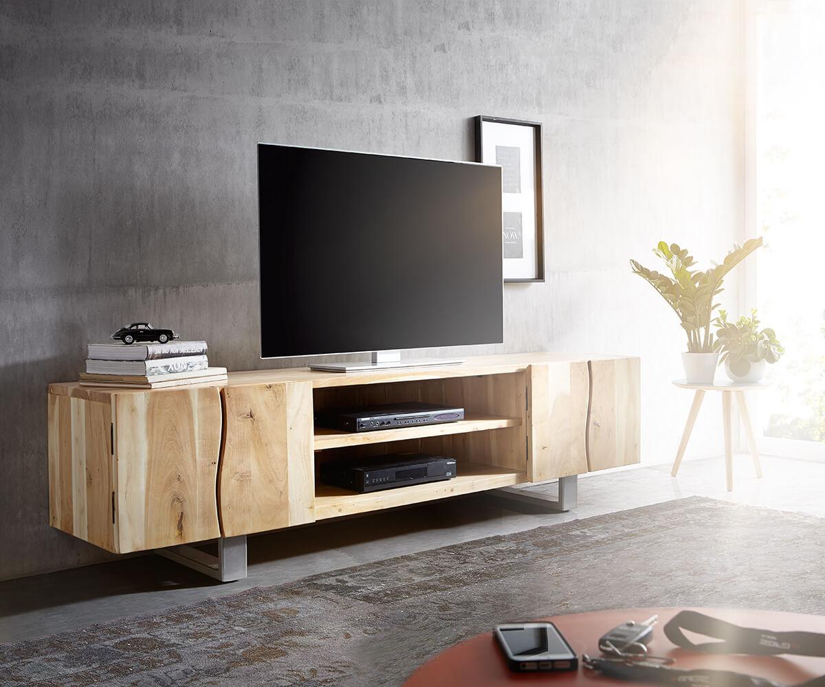 DELIFE Lowboard Live-Edge 200 cm Akazie Gebleicht 4 Türen 2 Fächer, Fernsehtische, Baumkantenmöbel, Massivholzmöbel, Massivholz, Baumkante, Wolf Live Edge