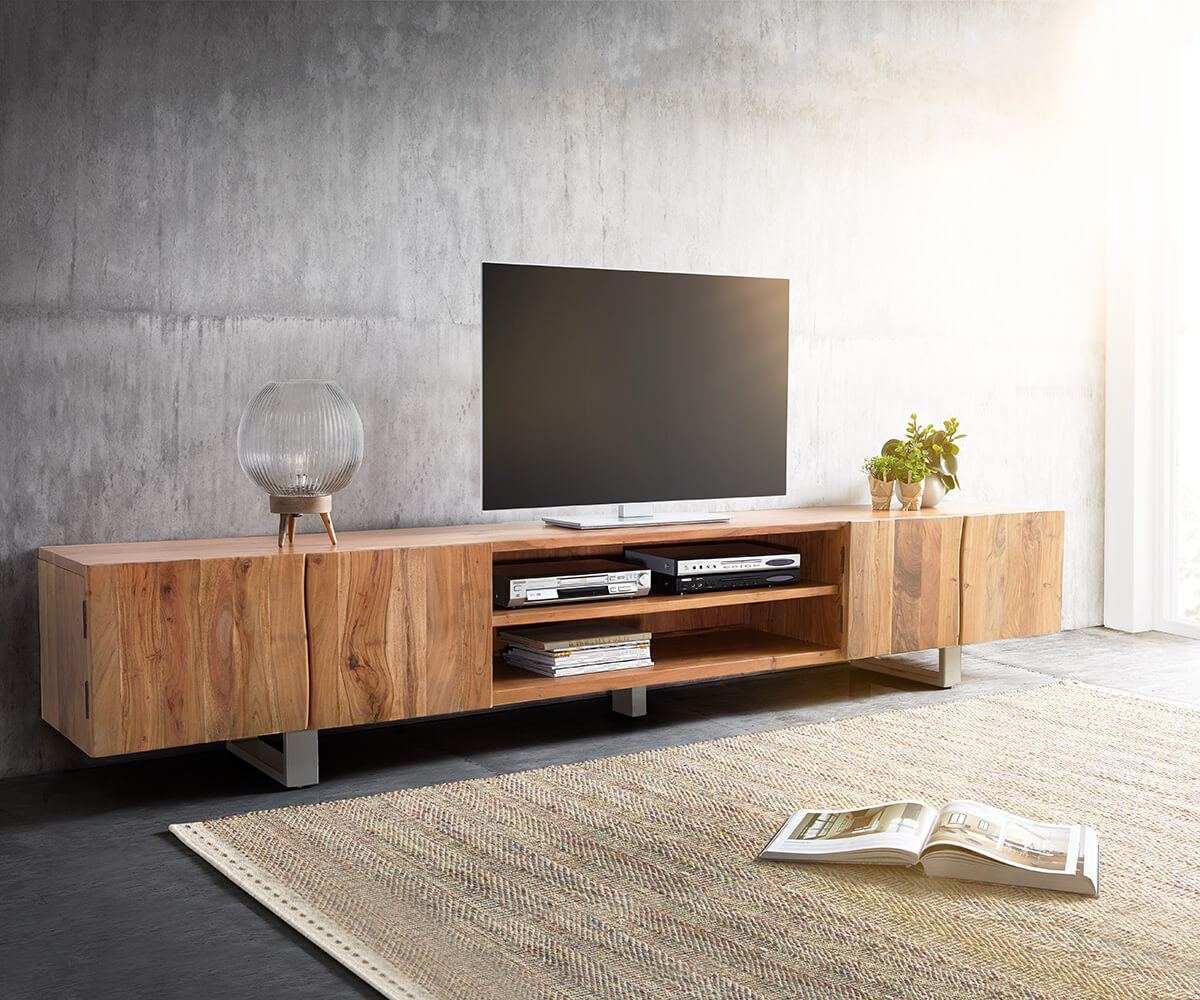 lowboard live edge 300 cm akazie natur 4 t ren 2 f cher m bel tische fernsehtische. Black Bedroom Furniture Sets. Home Design Ideas