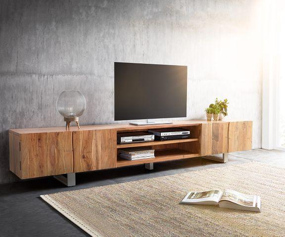 TV-meubel Live-Edge 300 cm acacia natuur 4 Deuren 2 vakken 1