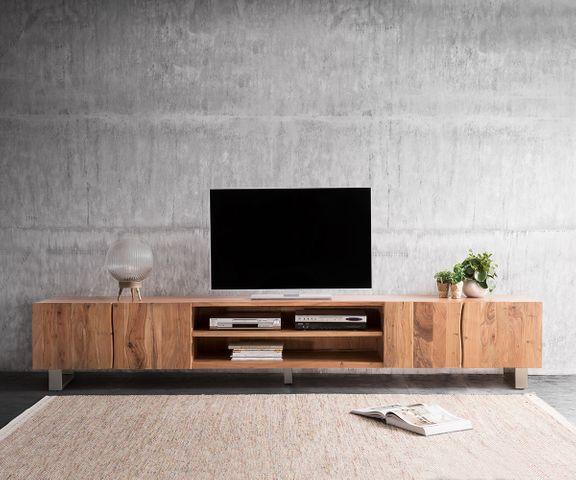 TV-meubel Live-Edge 300 cm acacia natuur 4 Deuren 2 vakken 3