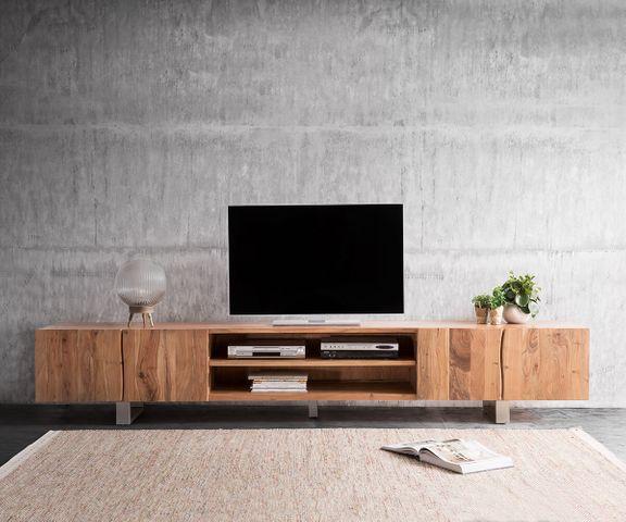 TV-meubel Live-Edge 300 cm acacia natuur 4 Deuren 2 vakken 2