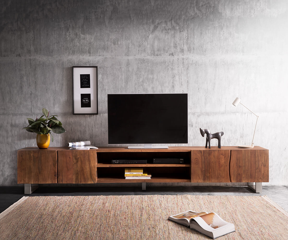 lowboard live edge 300 cm akazie braun 4 t ren 2 f cher m bel tische fernsehtische. Black Bedroom Furniture Sets. Home Design Ideas