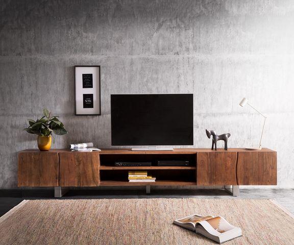 TV-meubel Live-Edge acacia bruin 300 cm 4 deuren 2 vakken 2