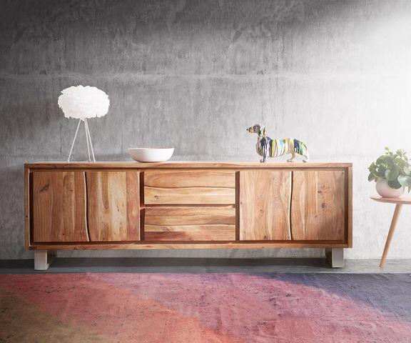 TV-meubel Live-Edge 200 cm acacia natuur 4 deuren 2 laden 3