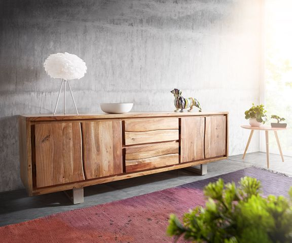 TV-meubel Live-Edge 200 cm acacia natuur 4 deuren 2 laden 1