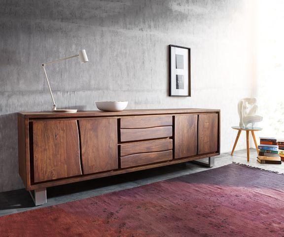 TV-meubel Live-Edge acacia bruin 200 cm 4 deuren 2 laden 1