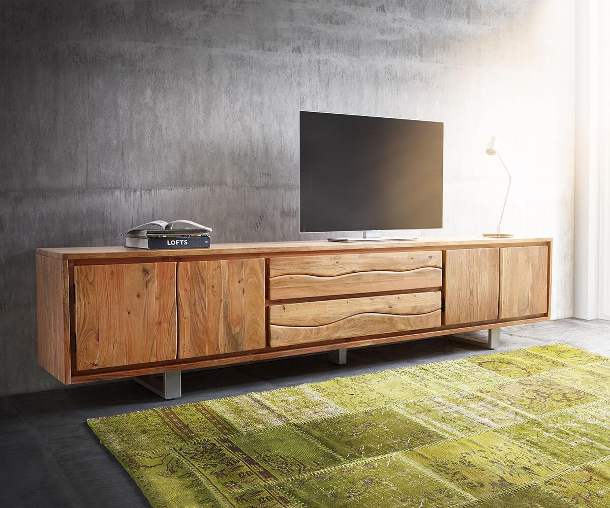 TV-meubel Live-Edge acaia natuur 300 cm 4 deuren 2 laden
