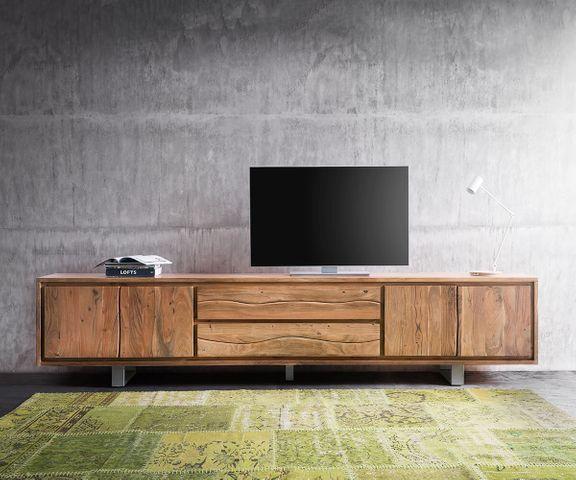 TV-meubel Live-Edge acaia natuur 300 cm 4 deuren 2 laden 2