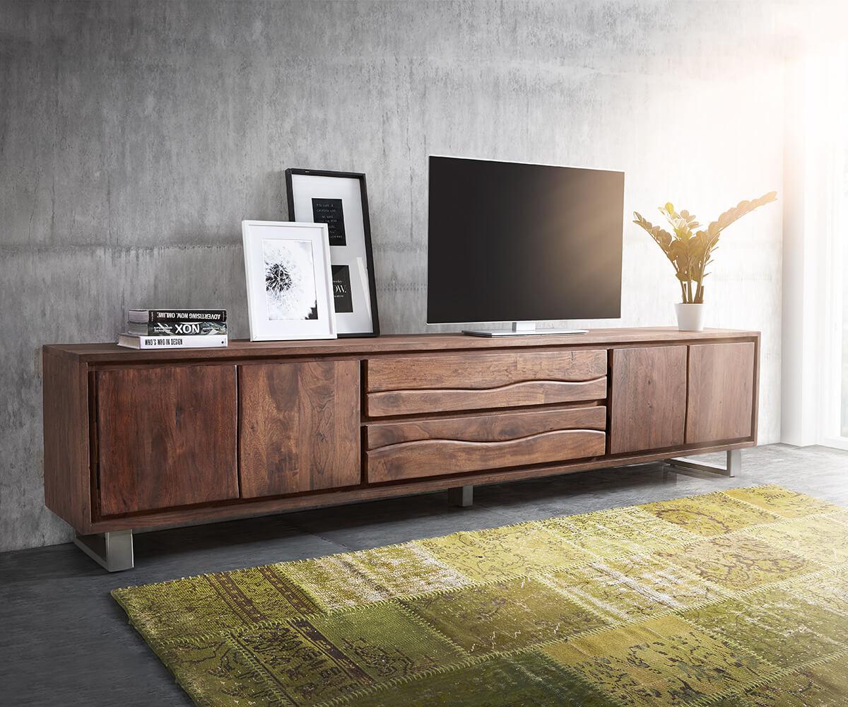 fernsehtisch live edge akazie braun 300 cm 4 t ren 2 sch be baumkante lowboard. Black Bedroom Furniture Sets. Home Design Ideas