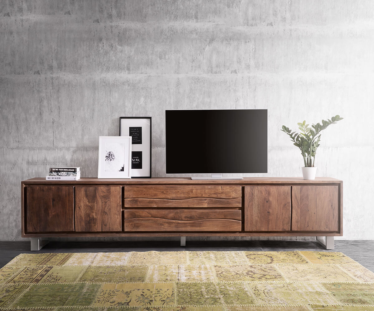 fernsehtisch live edge akazie braun 300 cm 4 t ren 2 sch be baumkante lowboard. Black Bedroom Furniture Sets. Home Design Ideas