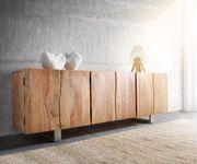 Kommode Live-Edge Akazie Natur 220 cm 6 Türen Massivholz Baumkante Sideboard  [11324]