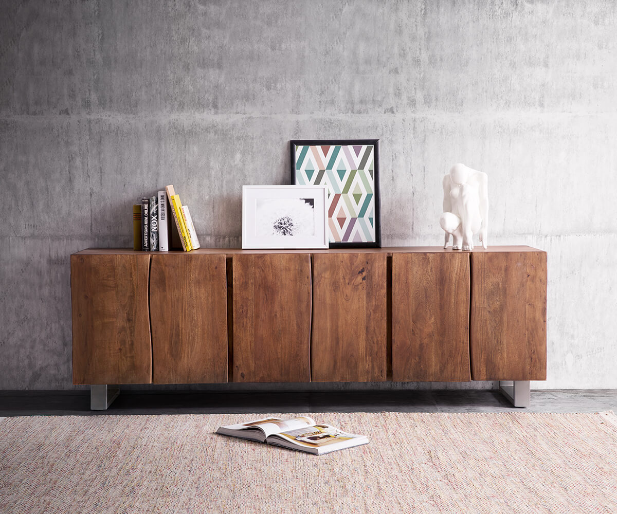 sideboard live edge 220 cm akazie braun massiv 6 t ren. Black Bedroom Furniture Sets. Home Design Ideas