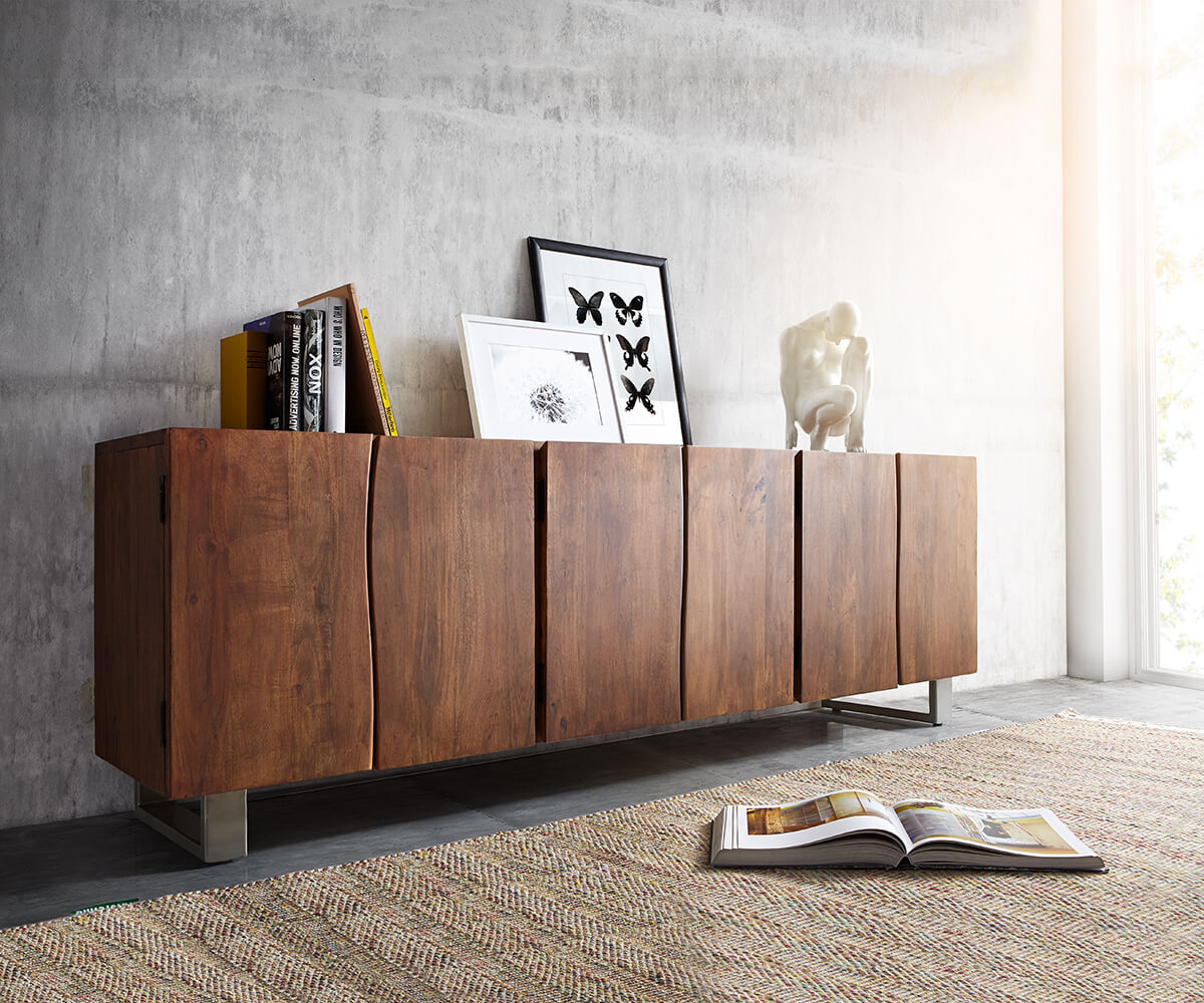sideboard live edge 220 cm akazie braun massiv 6 t ren m bel kommoden schr nke sideboards. Black Bedroom Furniture Sets. Home Design Ideas