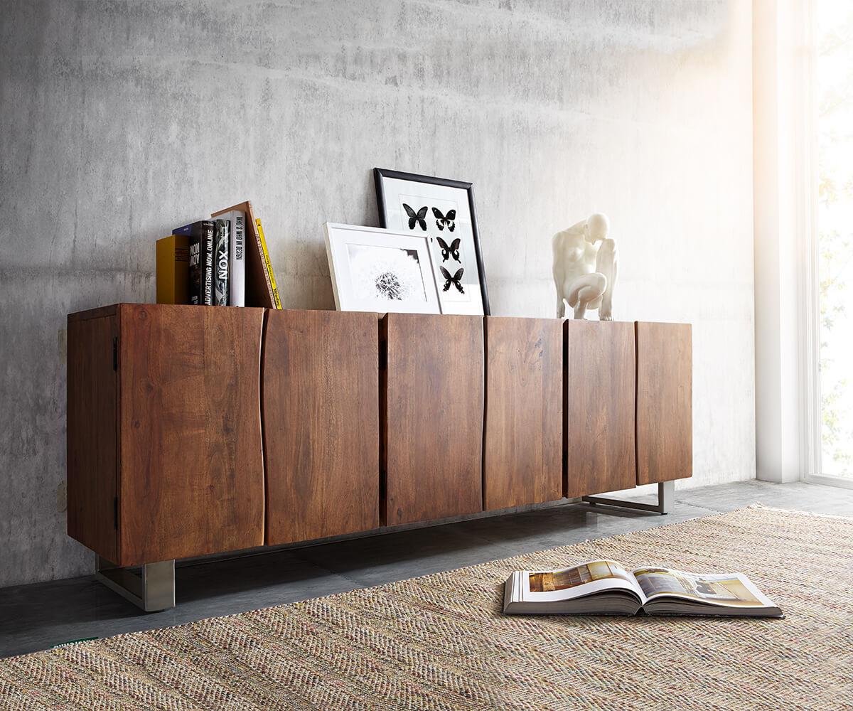 Kommode live edge akazie braun 220 cm 6 t ren massivholz for Sideboard 3 meter breit