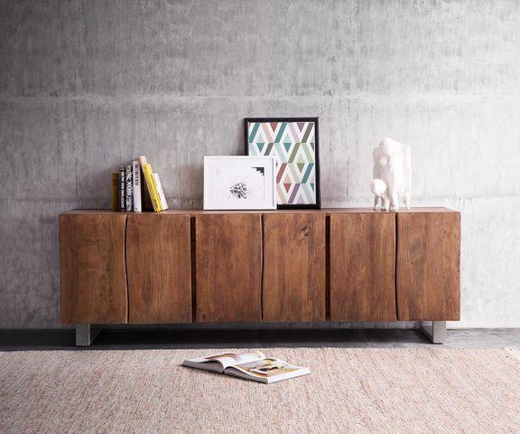 Dressoir Live-Edge 220 cm acacia bruin massief 6 deuren 1