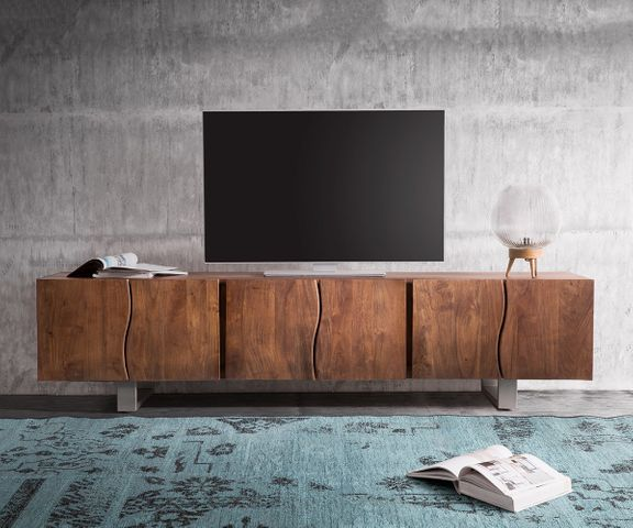 TV-meubel Live-Edge 220 cm acacia bruin massief 6 deuren 2