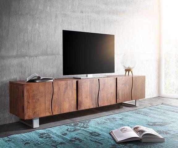 TV-meubel Live-Edge 220 cm acacia bruin massief 6 deuren 1