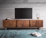 Fernsehtisch Live-Edge Akazie Braun 220 cm 6 Türen Massivholz Baumkante Lowboard [11328]