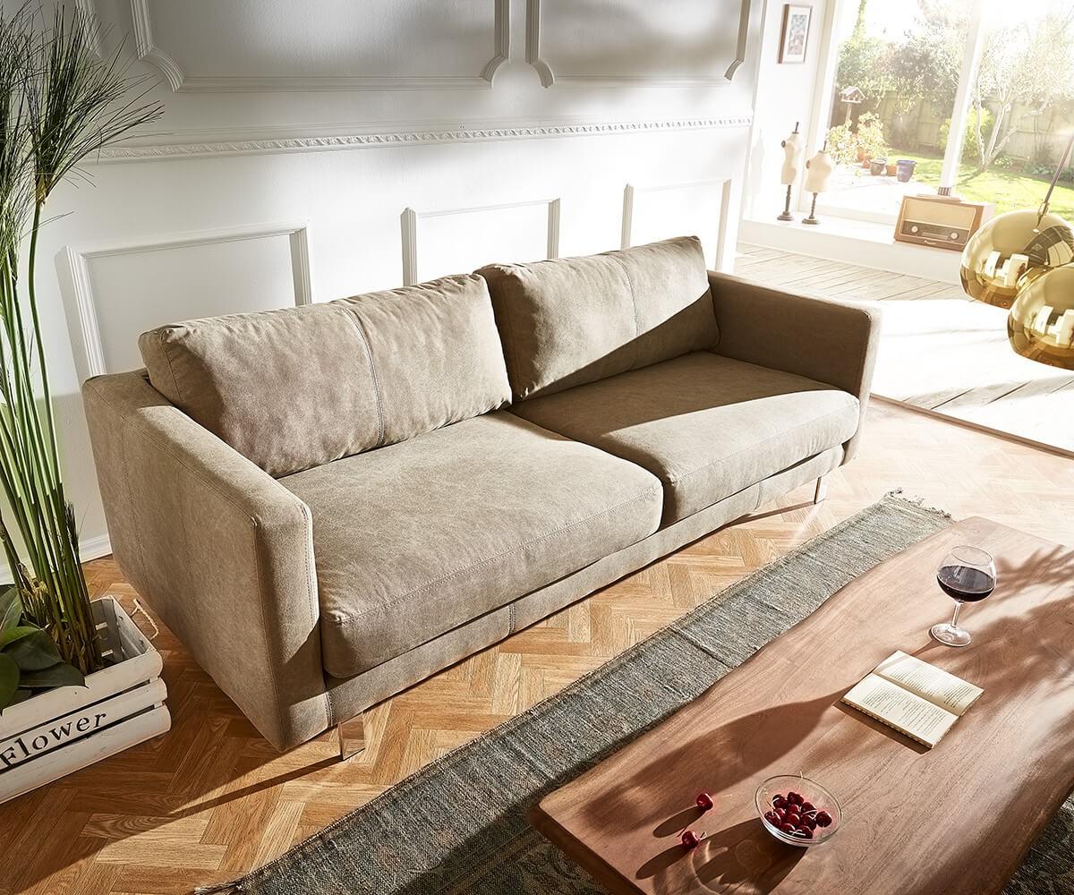 3 Sitzer Baracca 220x95 Cm Braun Bauhausstil Kissen Sofa