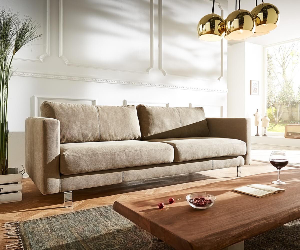 3 sitzer baracca 220x95 cm braun bauhausstil kissen sofa m bel sofas 2 3 sitzer. Black Bedroom Furniture Sets. Home Design Ideas