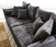 Bigsofa Marbeya Anthrazit 285x115 cm Antik Optik mit Kissen Big Sofa [10628]
