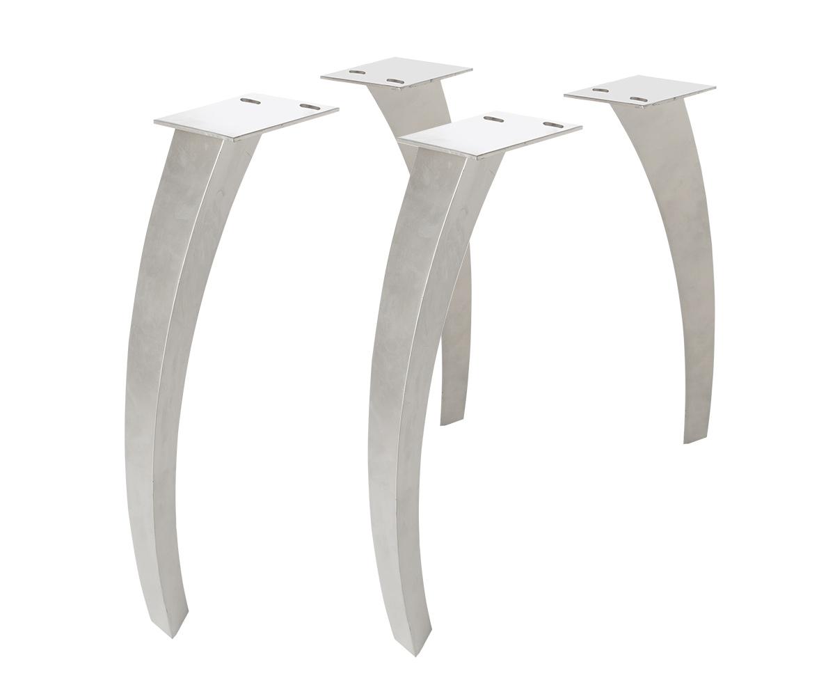 Tischbeine Live-Edge Baumtisch Metall gebogen 7,5x5,5 cm (4er Set)
