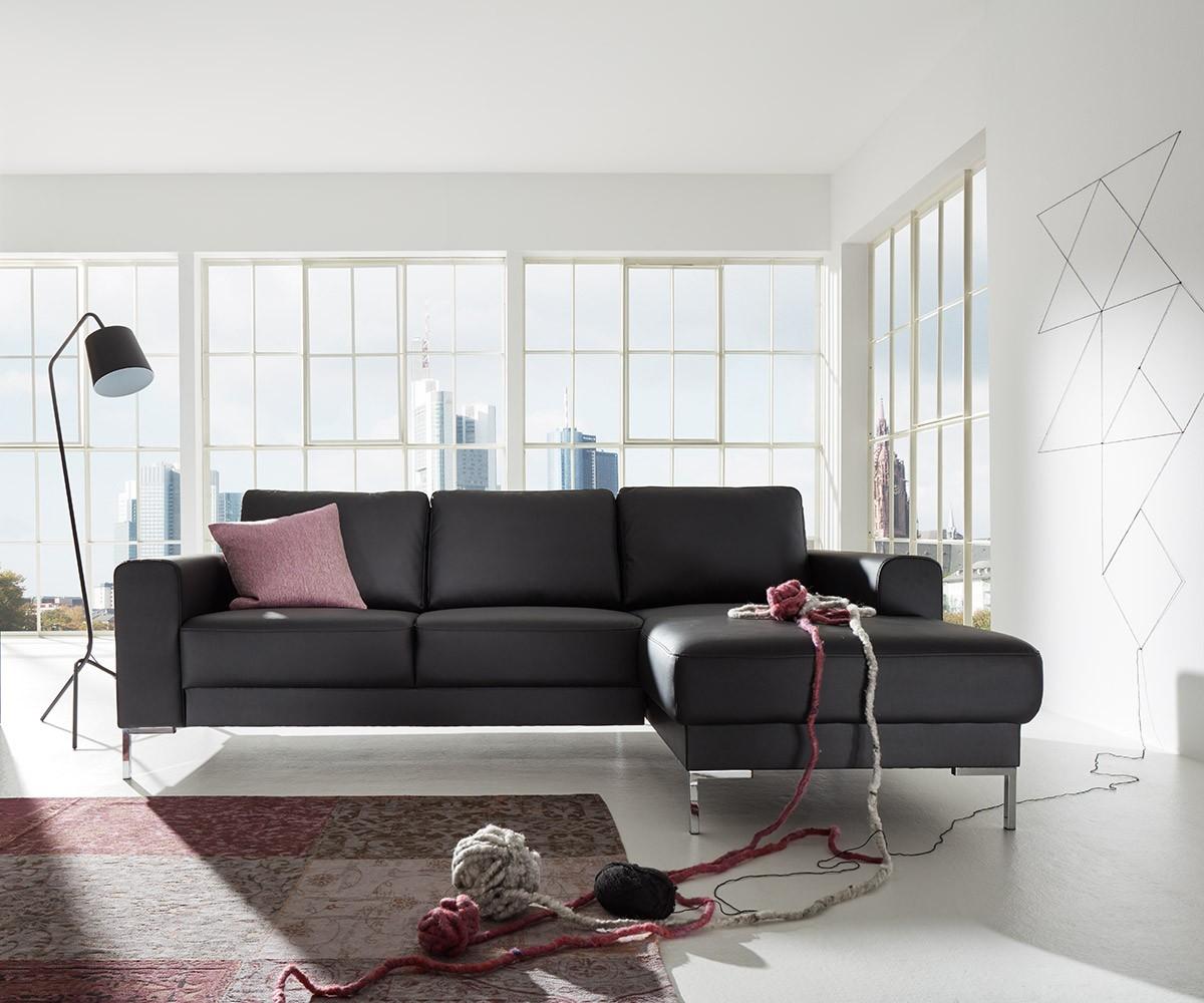 designer ecksofa silas 255x147 cm schwarz ottomane rechts m bel sofas ecksofas. Black Bedroom Furniture Sets. Home Design Ideas